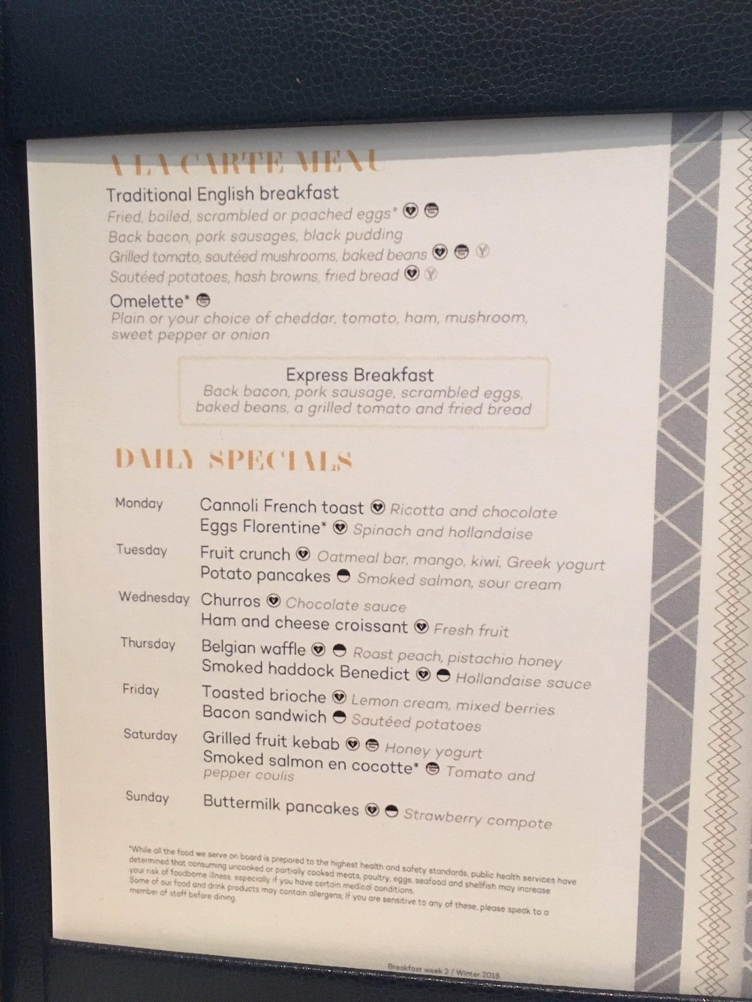 Marella MDR breakfast menu