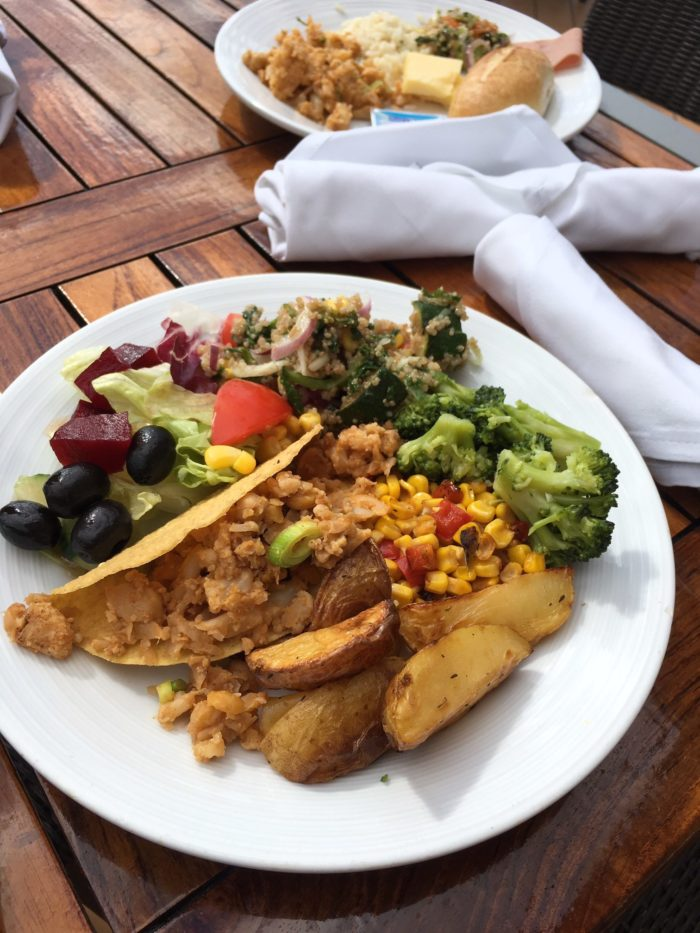 Marella vegan food cauliflower & chickpea tacos from the marketplace buffet
