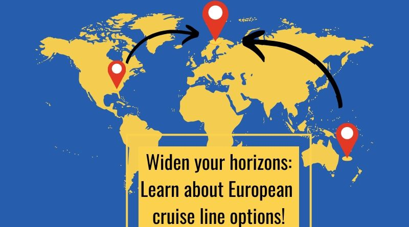 Map of the world with learn about European cruise line options text