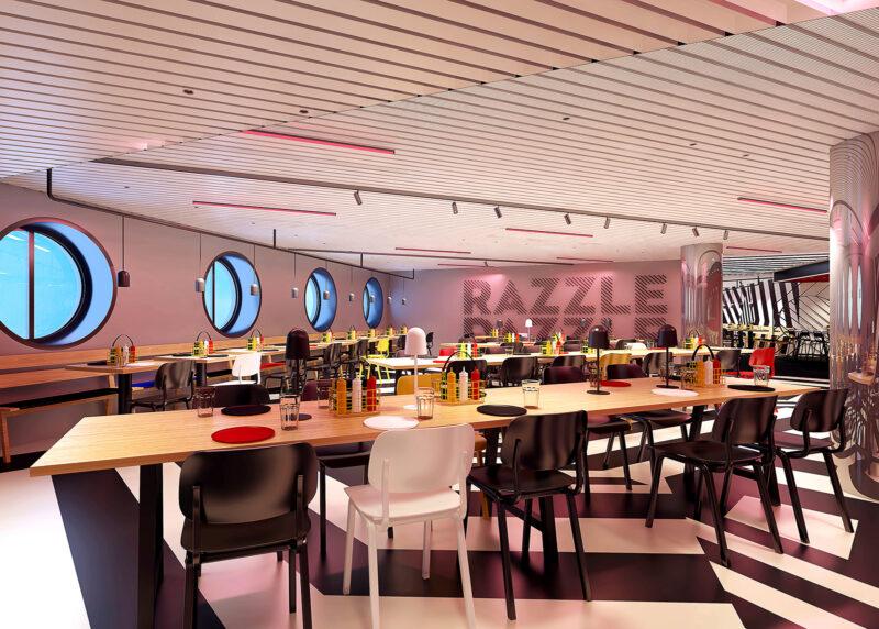 Razzle Dazzle interiors vegan food Virgin VOyages