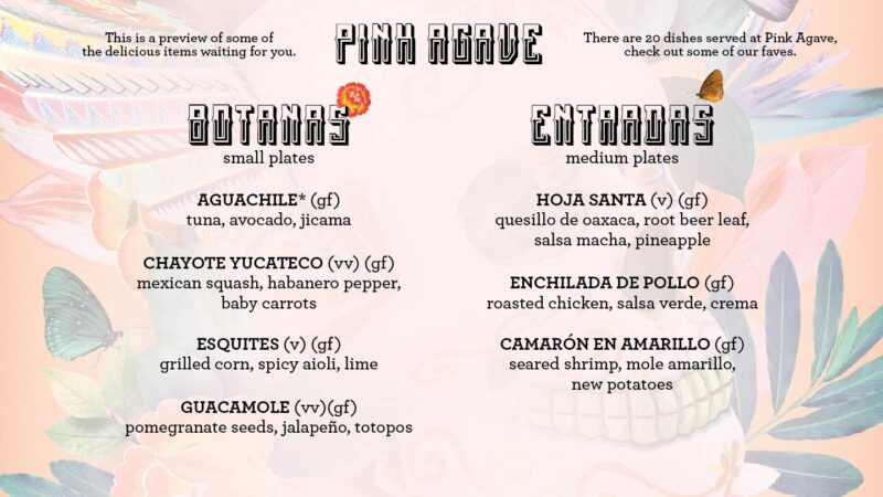 Virgin Voyages vegan food Pink Agave menu page 1