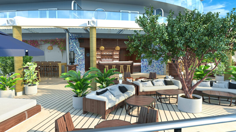 Virgin Voyages The Dock bar outside render