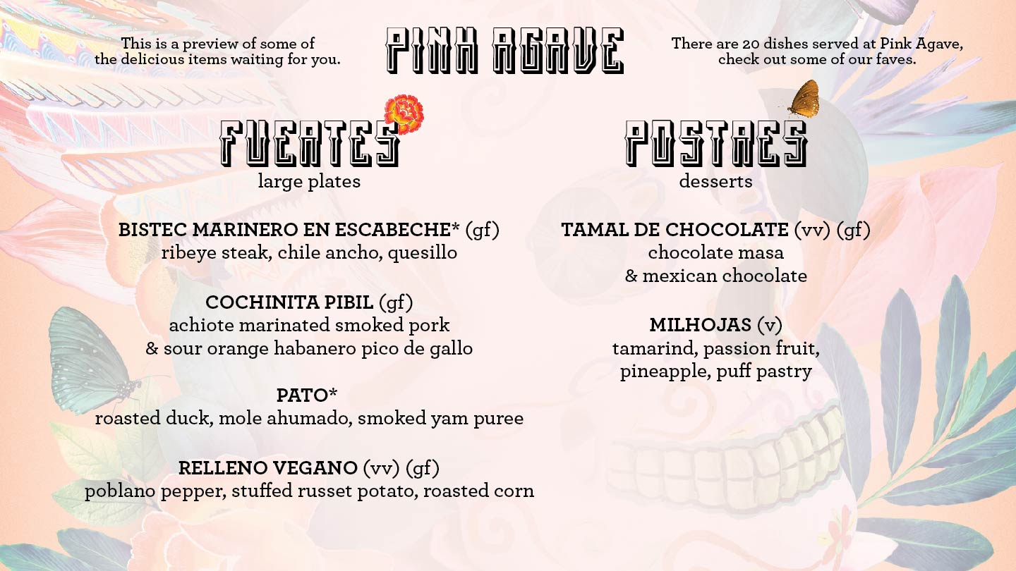 Virgi voyages vegan food pink agave mexican menu page 2