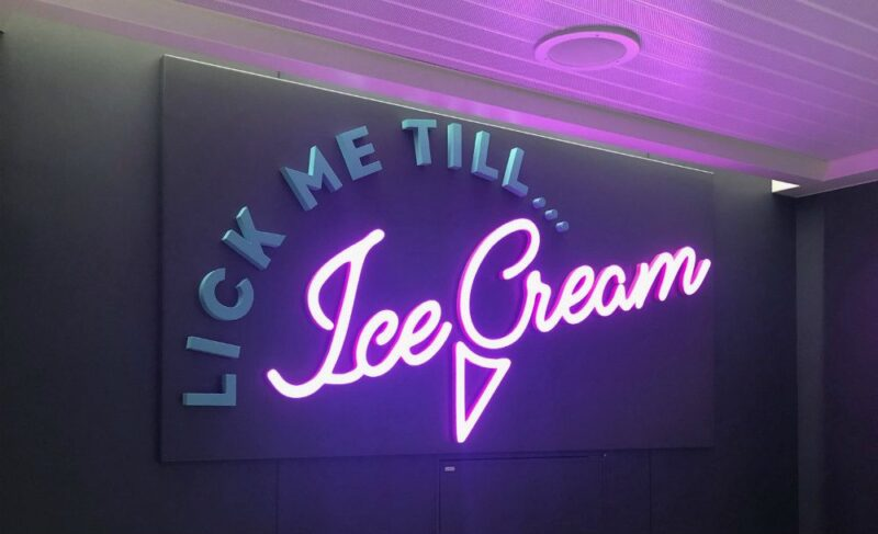 Scarlet Lady ice cream bar signage Lick me Till Ice Cream