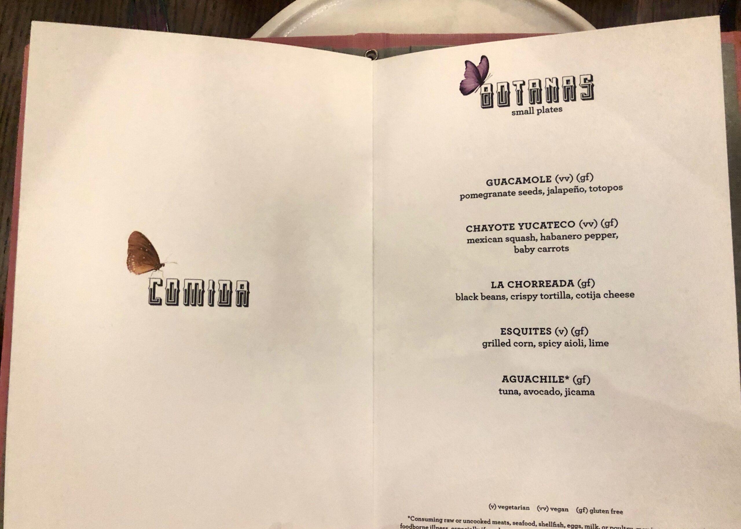 Pink Agave small plates menu