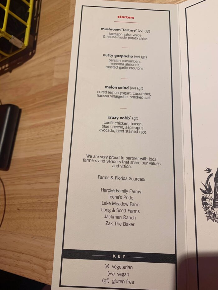 Razzle Dazzle Dinner menu page 1 Scarlet lady vegan choice