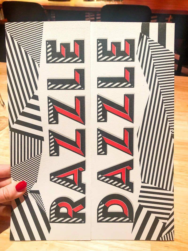 Razzle Dazzle menu cover VIrgin Voyages
