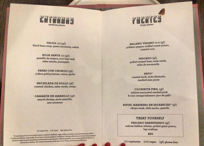 Scarlet Lady vegan options in Pink Agave restaurant menu