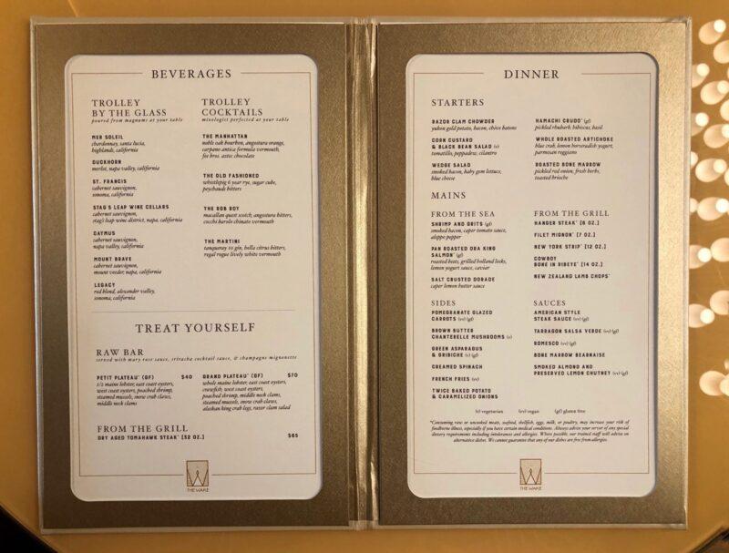 Scarlet Lady vegan menu items in the Wake steakhouse