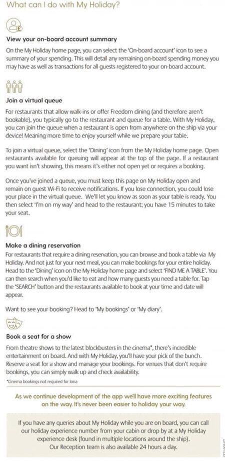 My holiday app instructions P&O